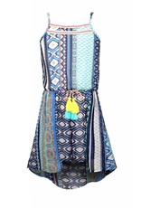 Truly Me Blue/Green/Peach Patterned Dress