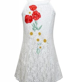 Truly Me White Lace Overlay Dress w/Flowers