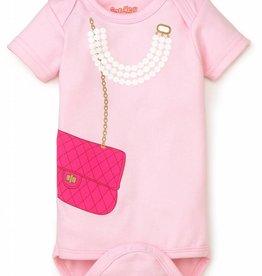 Sara Kety Pink Bag w/ Pearls Onesie Pink