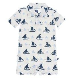 Kickee Pants Polo Romper Nat. Sailboat