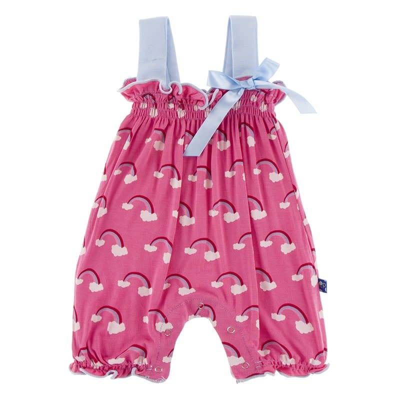 Kickee Pants Gathered Romper Flamingo Rainbow