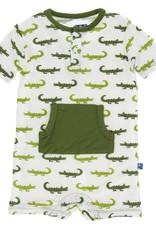 Kickee Pants Kangaroo Romper Nat. Crocodile