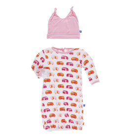 Kickee Pants Layette Gown & Knot Hat Nat. Camper, 0/3M