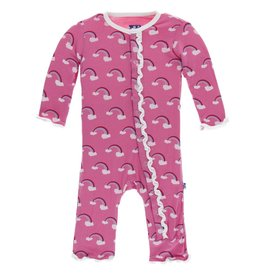 Kickee Pants Muff. Ruff. Snap Coverall Flamingo Rainbow