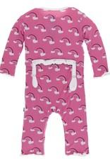 Kickee Pants Muff. Ruff. Snap Coverall Flamingo Rainbow