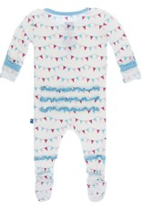 Kickee Pants Muff. Ruff. Snap Footie Flamingo Party Flags