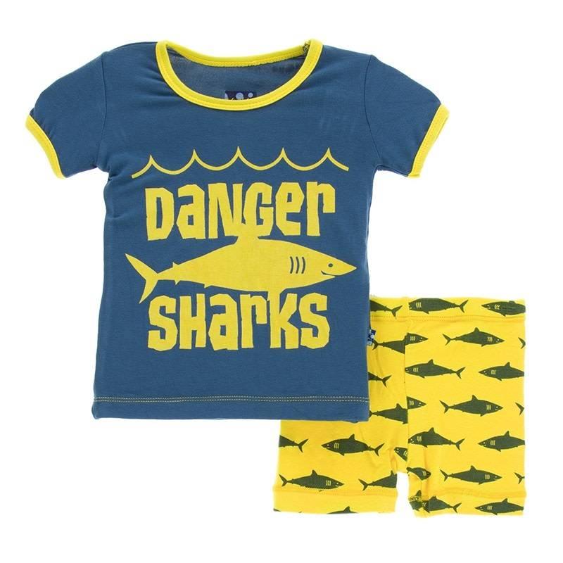 Kickee Pants S/S PJ Short Set Lemon Shark