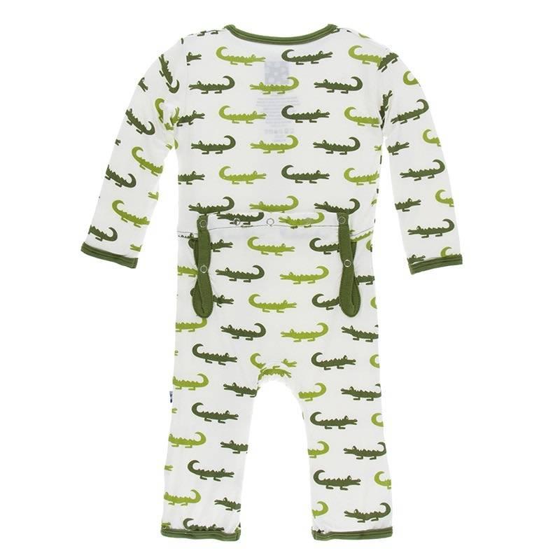 Kickee Pants Zip Coverall Nat. Crocodile