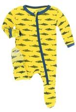 Kickee Pants Zip Footie Lemon Shark