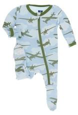 Kickee Pants Zip Footie Pond Airplane