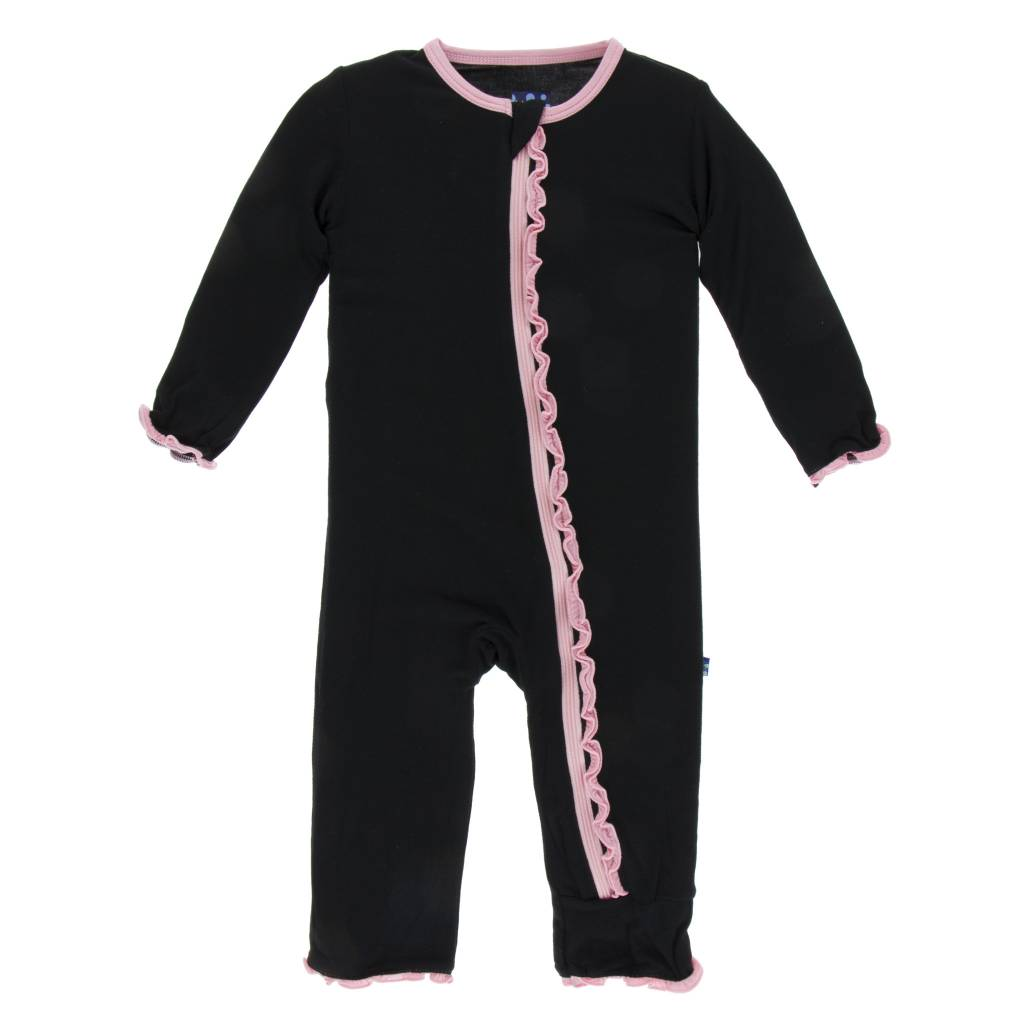 Kickee Pants Muff. Ruff. Zip Coverall Midnight w/ Lotus