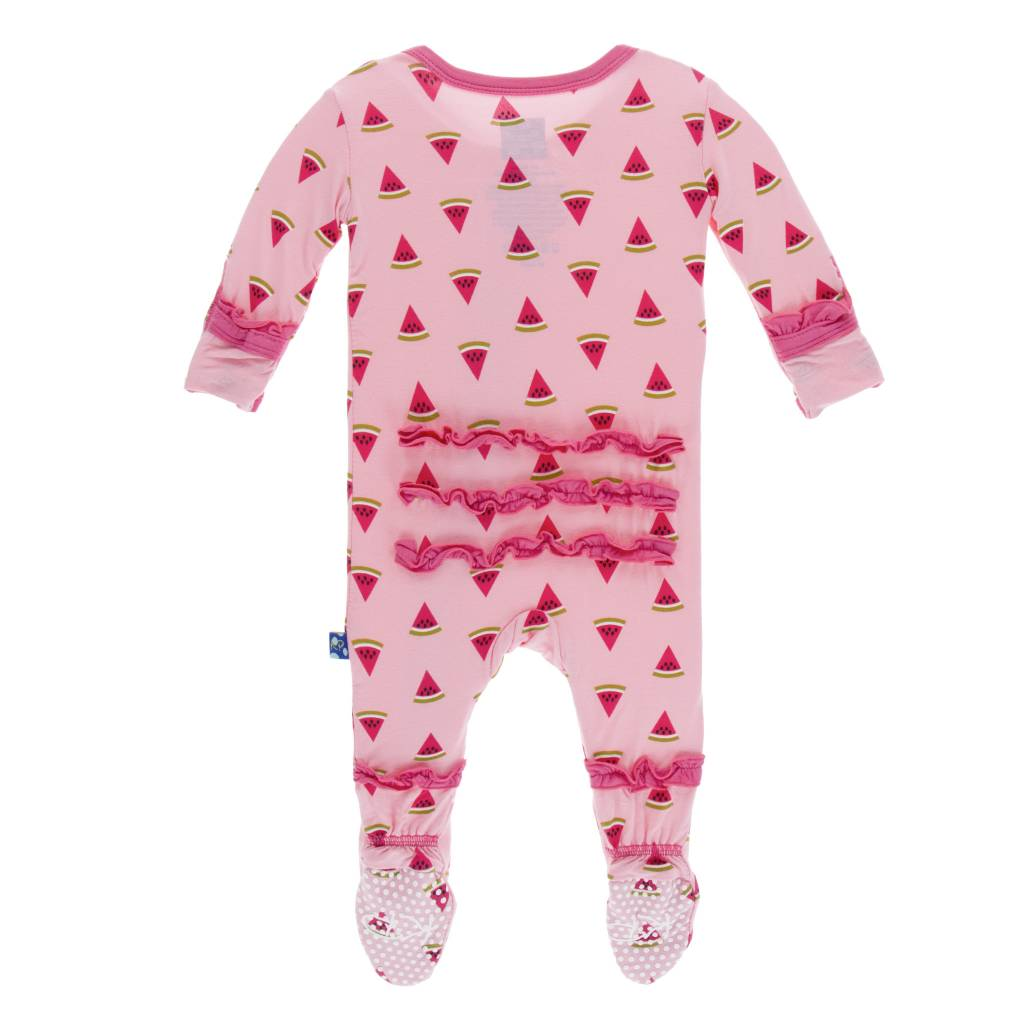 Kickee Pants Muff. Ruff. Zip Footie Lotus Watermelon