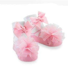 Mud Pie Tulle Puff Sock (Light Pink)