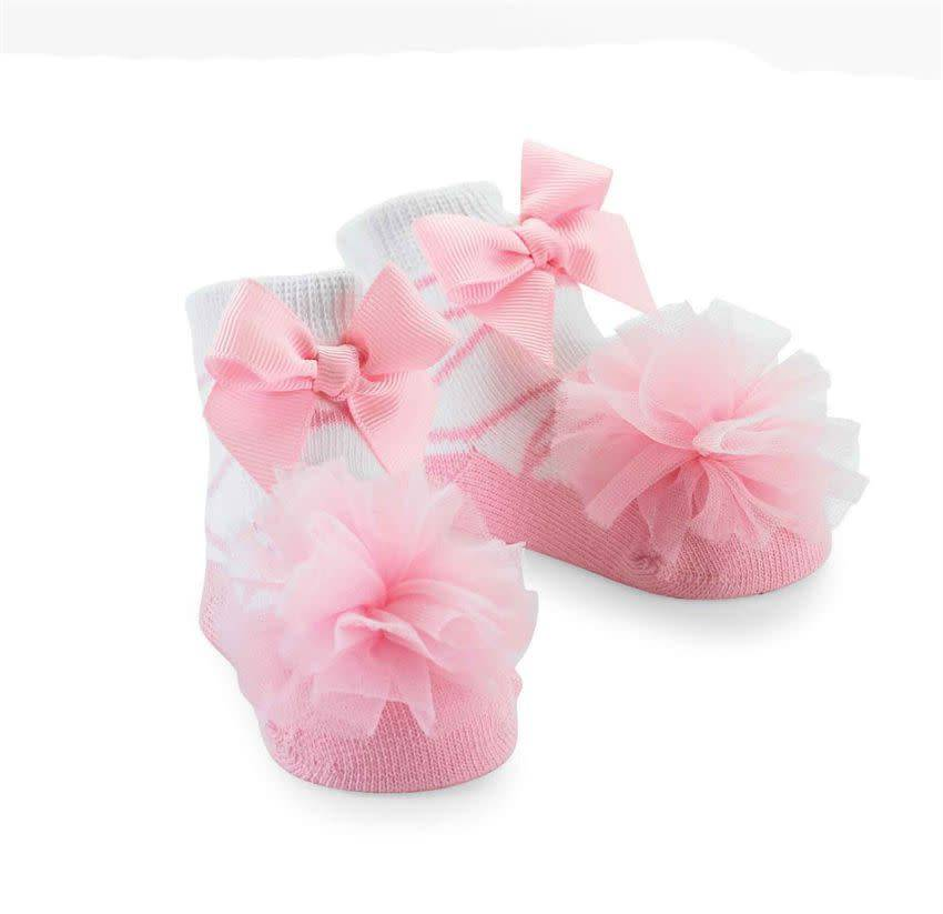Mud Pie Tulle Puff Sock (Light Pink)