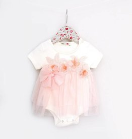 MaeLi Rose Ivory Floral Patch Skirted Onesie