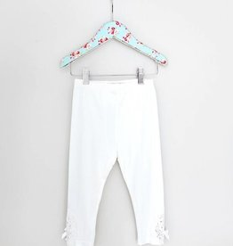 MaeLi Rose White Crochet Patch Capri Legging