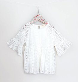 MaeLi Rose White Geometric Lace Top
