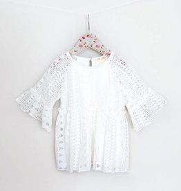 MaeLi Rose White Geometric Lace Top