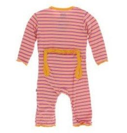 Kickee Pants Muff. Ruff. Zip Coverall Flamingo Brazil Stripe