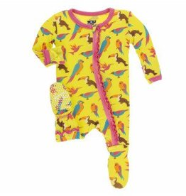 Kickee Pants Muff. Ruff. Zip Footie Banana Tropical Birds