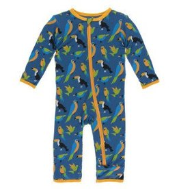 Kickee Pants Zip Coverall Twilight Tropical Birds