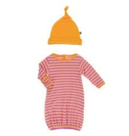 Kickee Pants Gown & Hat Flamingo Brazil Stripe