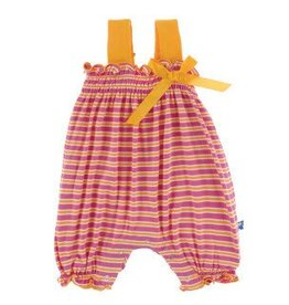 Kickee Pants Gathered Romper Flamingo Brazil Stripe