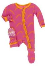 Kickee Pants Muff. Ruff. Zip Footie Carnival Feathers