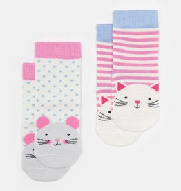 Joules Neat Feet Cat and Mouse 2pk Sock Set