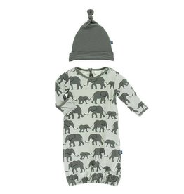 Kickee Pants Aloe Elephant Gown & Hat