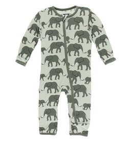 Kickee Pants Aloe Elephant Zip Coverall
