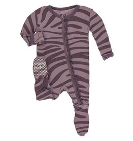 Kickee Pants Muff. Ruff. Zip Footie Elderberry Zebra