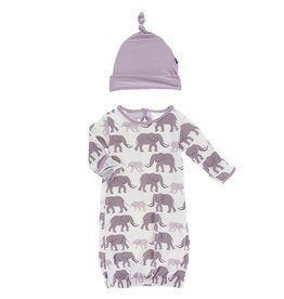 Kickee Pants Nat. Elephant Layette Gown & Hat