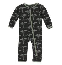 Kickee Pants Zebra Accacia Trees Zip Coverall