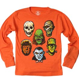 Wes And Willy Monsters LS Tee Orange Crush Blend