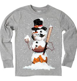 Wes And Willy Sports Snowman LS Tee Heather