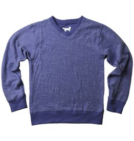 Wes And Willy V-Neck Reverse Fleece LS Midnight