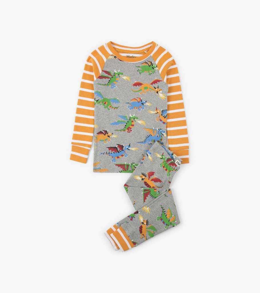 Hatley Fire Breathing Dragons Organic PJ Set