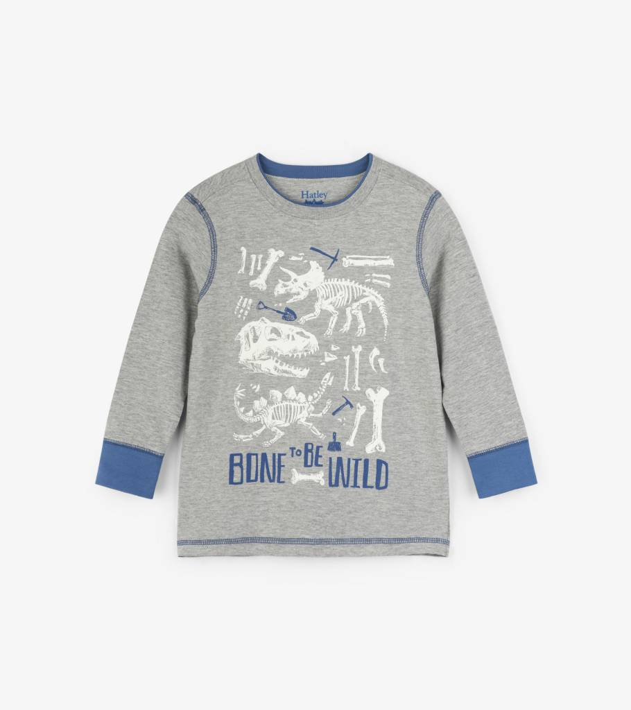 Hatley Bone To Be Wild Preppy LS Tee Athletic Grey
