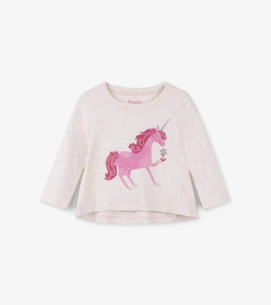 Hatley Curious Unicorn LS Baby Tee Giddy Pink