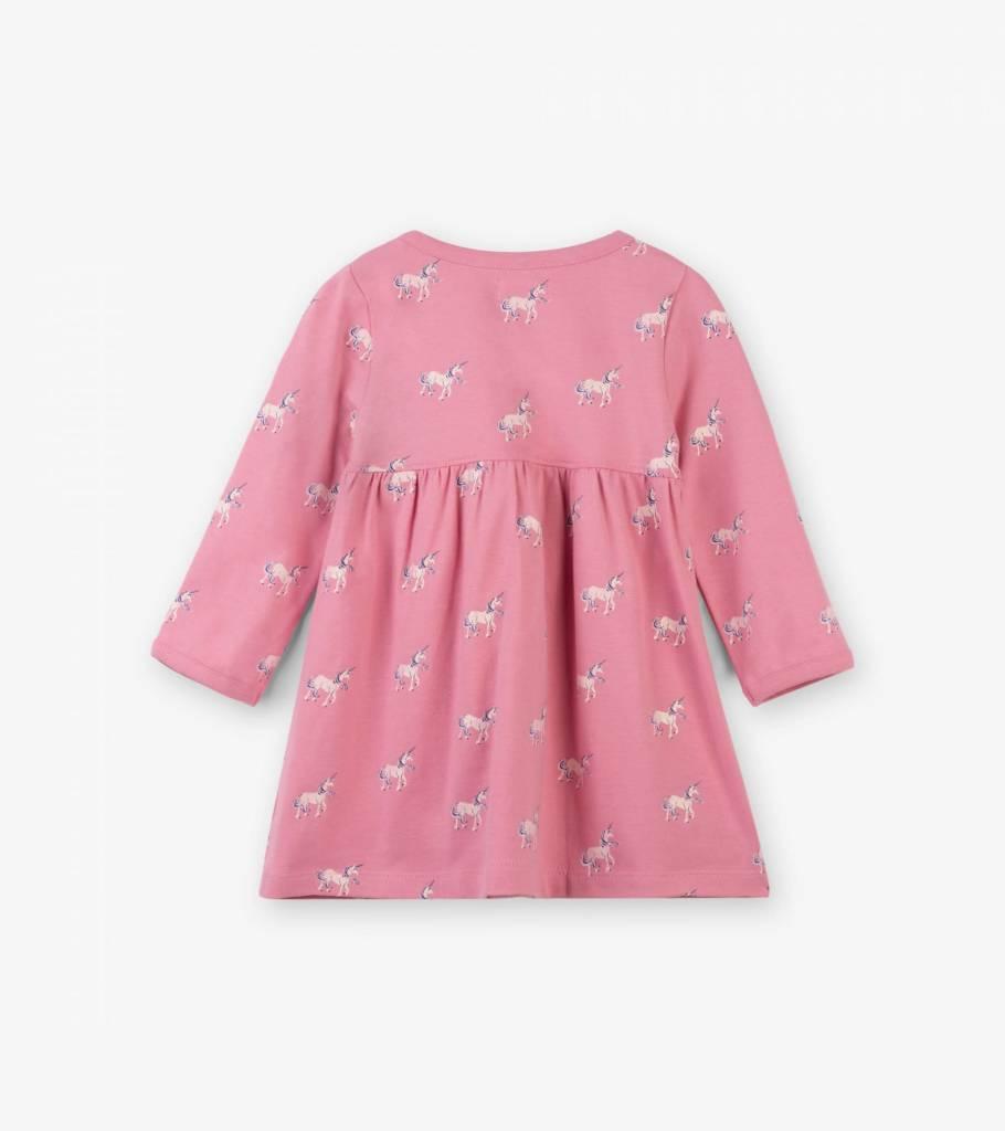 Hatley Graphic Unicorns Baby Cross Over Dress Desert Rose