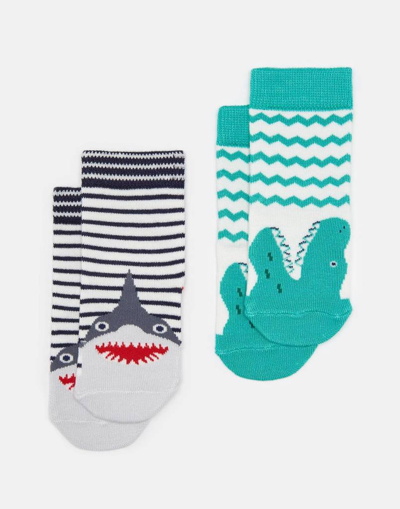 Joules Neat Feet Character Socks Set Shark & Alligator