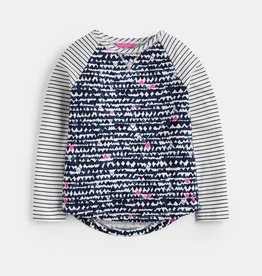 Joules Mishmash Baseball Style Top Navy Hearts