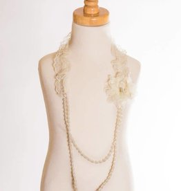 M. L. Kids Ivory Rosette & Lace Beaded Necklace