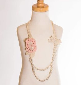 M. L. Kids Blush Flowers & Pearl Beaded Necklace