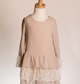 M. L. Kids Lace & Tulle Hem Khaki Sweater