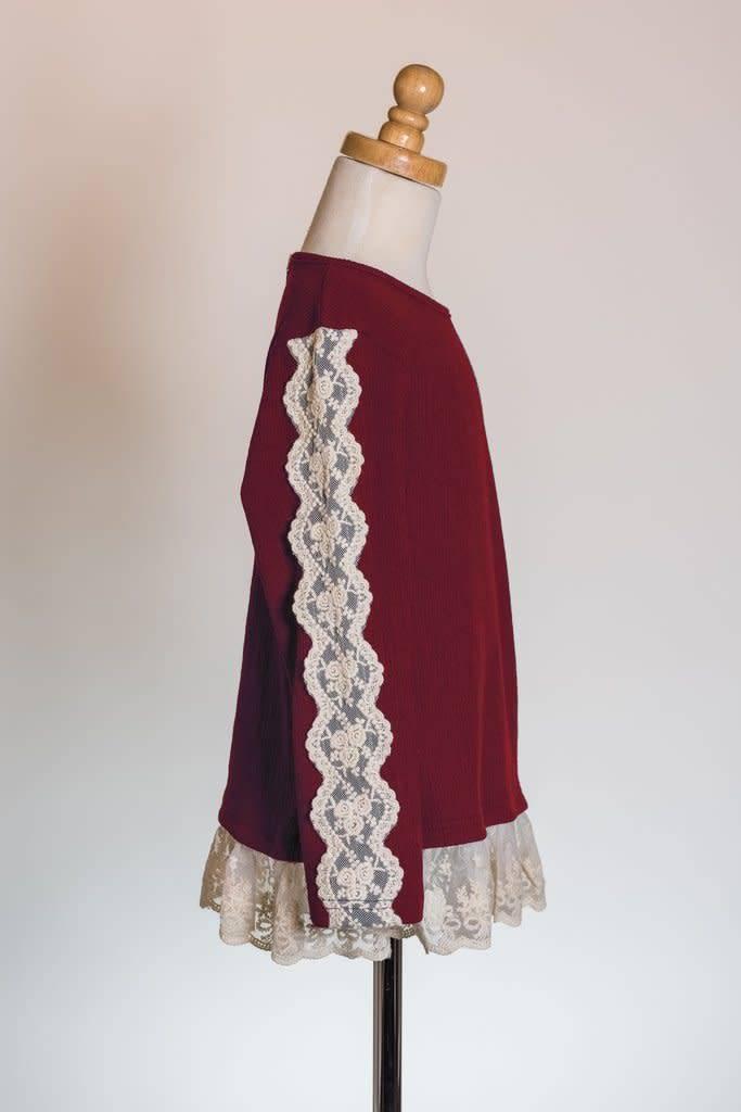 M. L. Kids Burgundy Top w/ Lace Hem & Sleeve Details