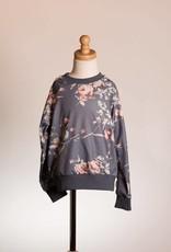 M. L. Kids Slate Floral Pullover w/ Lace Details