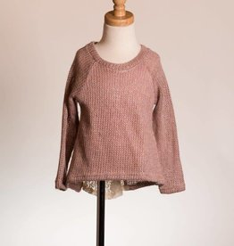 M. L. Kids Rose & Gold Knit Sweater w/ Lace Bow Back