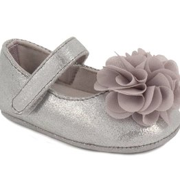 Trimfoot Co. Silver Shimmer Skimmer Shoe w/ Chiffon Flower